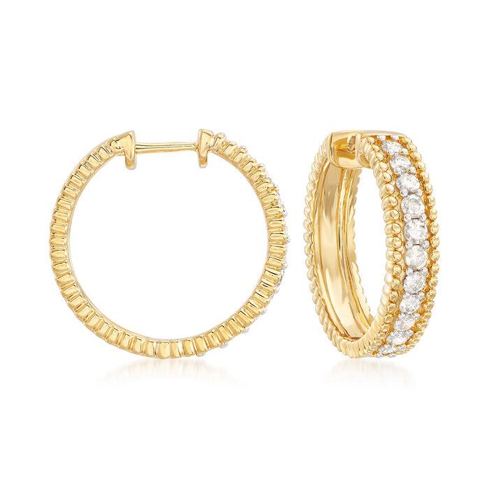 "1.00 ct. t.w. Diamond Beaded Hoop Earrings in 18kt Gold Over Sterling. 3/4"""