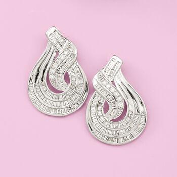 1.50 ct. t.w. Baguette and Round Diamond Twist Teardrop-Shaped Drop Earrings in Sterling Silver