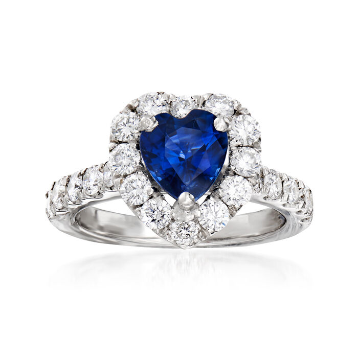 1.90 Carat Sapphire and 1.25 ct. t.w. Diamond Halo Heart Ring in 18kt White Gold