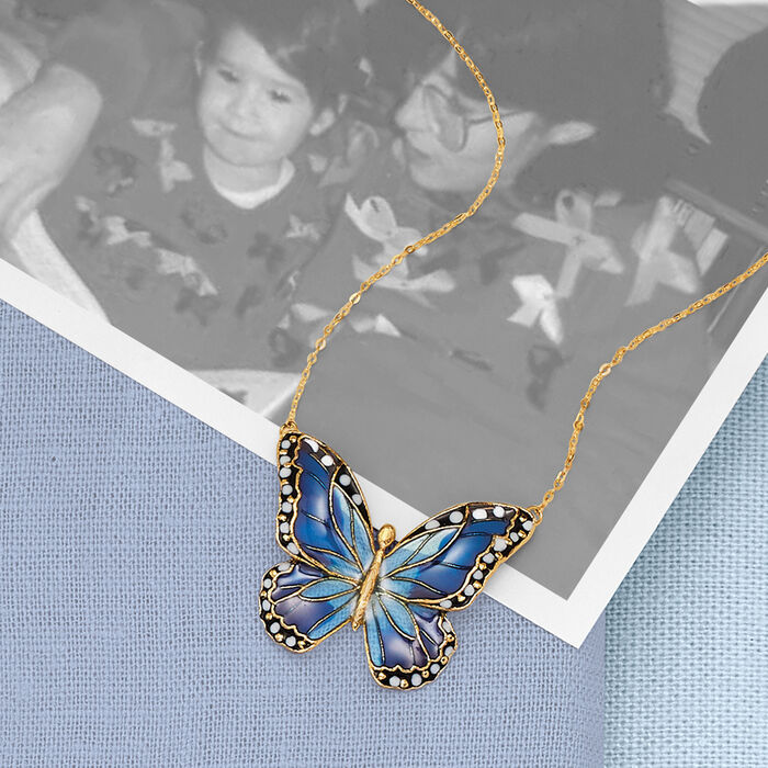 Italian Multicolored Enamel Butterfly Necklace in 14kt Yellow Gold