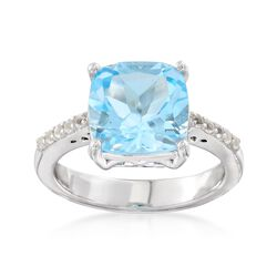 4.30 ct. t.w. Blue and White Topaz Ring in Sterling Silver. Size 6, , default