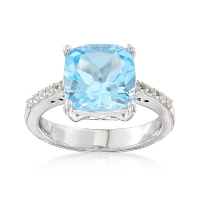 4.30 ct. t.w. Blue and White Topaz Ring in Sterling Silver, , default