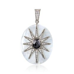 Mother-Of-Pearl and Black Onyx Star Pendant With .70 ct. t.w. CZs  in Stering Silver, , default