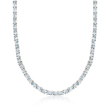 """25.00 ct. t.w. Aquamarine Tennis Necklace in Sterling Silver. 18"""", , default"""