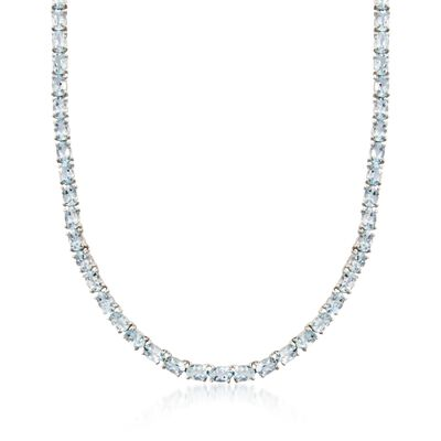 25.00 ct. t.w. Aquamarine Tennis Necklace in Sterling Silver, , default