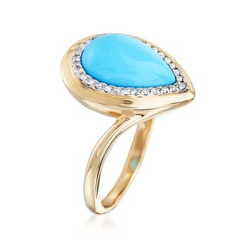 Turquoise and .20 ct. t.w. Diamond Ring in 14kt Yellow Gold