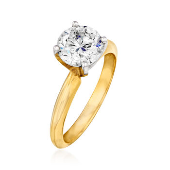 1.81 Carat Certified Diamond Solitaire Engagement Ring in 14kt Yellow Gold. Size 6