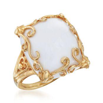 White Agate Scrollwork Frame Ring in 14kt Gold Over Sterling, , default