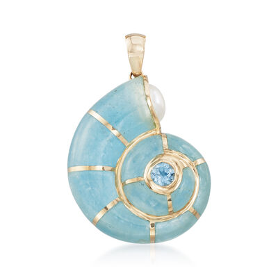 Milky Aquamarine and .30 Carat Blue Topaz Snail Shell Pendant with Cultured Pearl in 14kt Yellow Gold