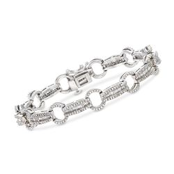 1.50 ct. t.w. Baguette and Round Diamond Link Bracelet in Sterling Silver, , default