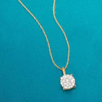 ".50 ct. t.w. Pave Diamond Cluster Pendant Necklace in 14kt Yellow Gold. 18"", , default"