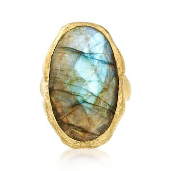 Oval Labradorite Textured and Polished Ring in 18kt Gold Over Sterling, , default