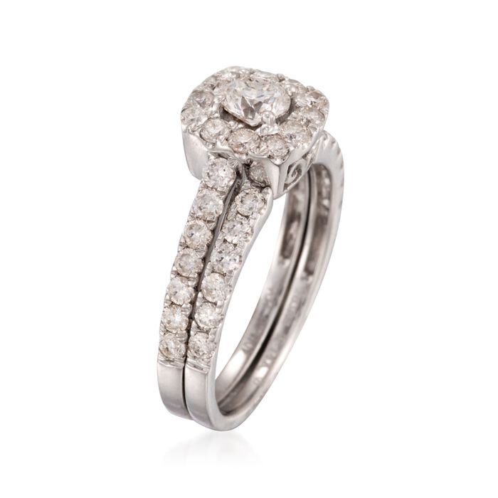 1.40 ct. t.w. Diamond Bridal Set: Engagement and Wedding Rings in 14kt White Gold