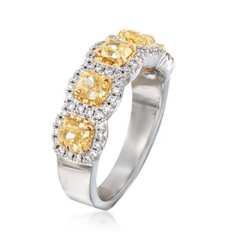 Henri Daussi 1.60 ct. t.w. Yellow and White Diamond Ring in 18kt White Gold. Size 6.5