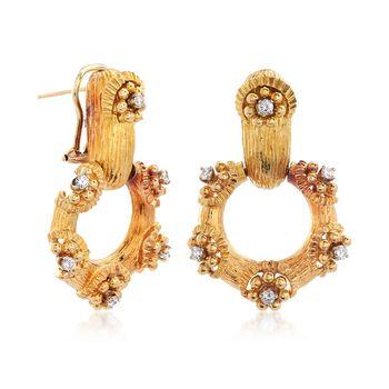 C. 1970 Vintage .75 ct. t.w. Diamond Doorknocker Earrings in 18kt Yellow Gold , , default