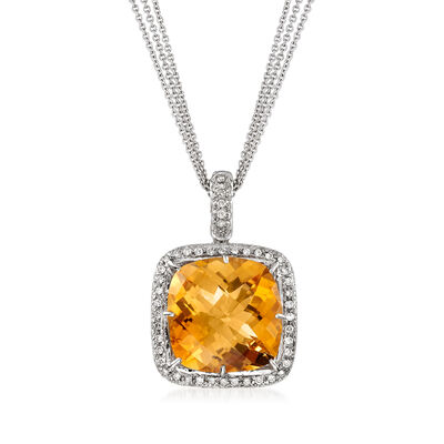 C. 1980 Vintage 12.00 Carat Citrine and 1.45 ct. t.w. Diamond Pendant Necklace in 18kt and 14kt White Gold, , default
