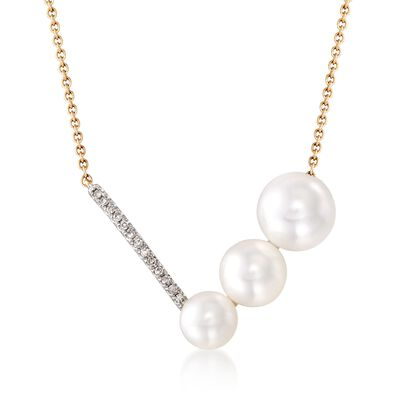 5.5-7.5mm Cultured Pearl V-Necklace with Diamond Accents in 14kt Yellow Gold, , default