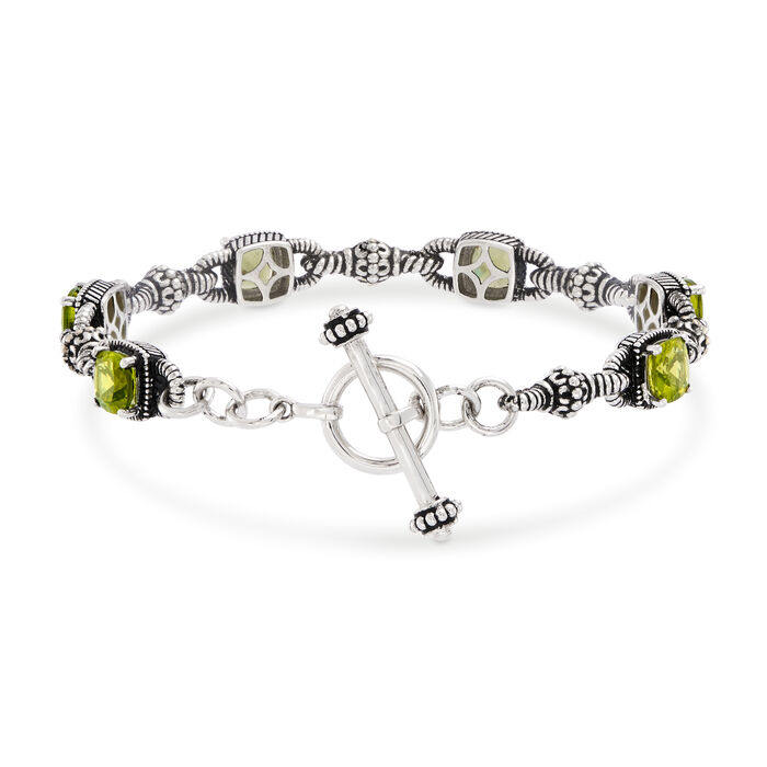 6.65 ct. t.w. Peridot Bracelet in Sterling Silver and 14kt Yellow Gold