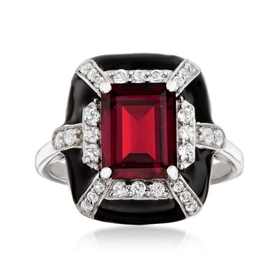 3.00 Carat Garnet and .44 ct. t.w. White Topaz Ring with Black Enamel in Sterling Silver, , default