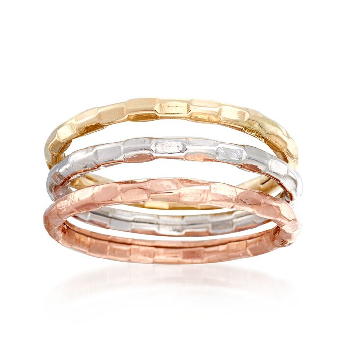 14kt Tri-Colored Gold Jewelry Set: Three Stackable Rings. Size 5, , default