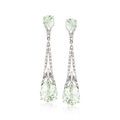 7.90 ct. t.w. Green Prasiolite and .19 ct. t.w. Diamond Drop Earrings in Sterling Silver, , default