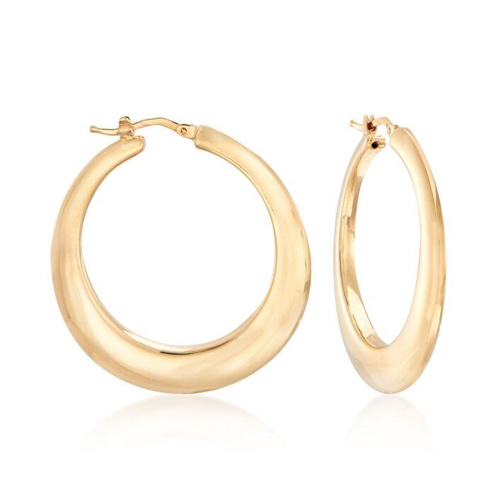 "Italian 14kt Yellow Gold Graduated Hoop Earrings. 1 1/2"""