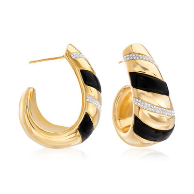 Andiamo Black Onyx and Rhinestone Earrings in 14kt Yellow Gold Over Resin, , default