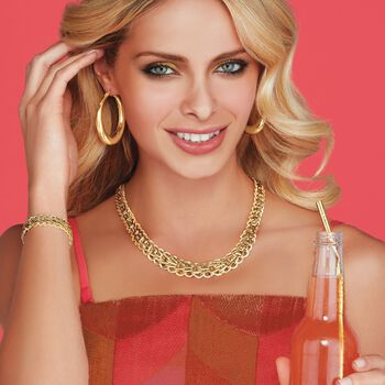 Italian 18kt Yellow Gold Graduated Braid-Link Necklace