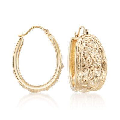 14kt Yellow Gold Textured Cross Hoop Earrings, , default