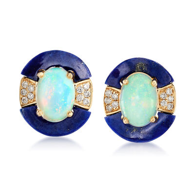 Opal and Lapis Drop Earrings in 14kt Yellow Gold With Diamond Accents, , default