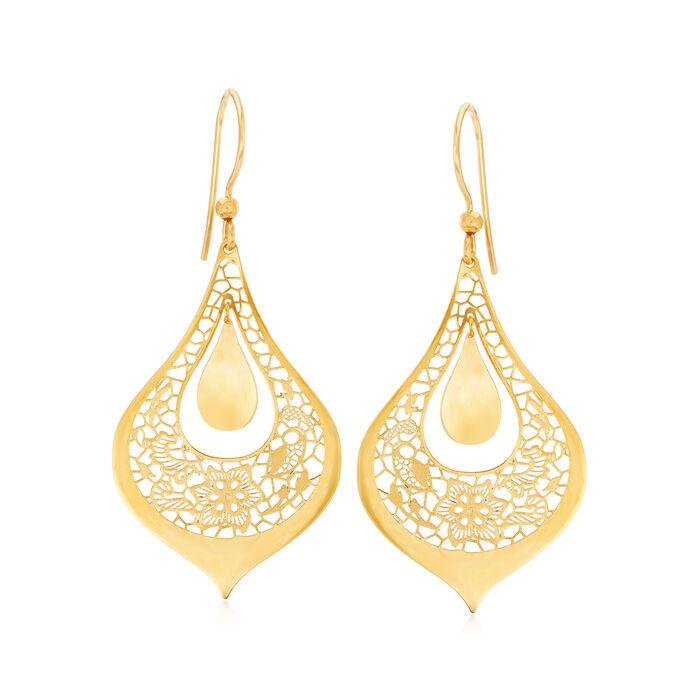 Italian 14kt Yellow Gold Filigree Floral Teardrop Earrings