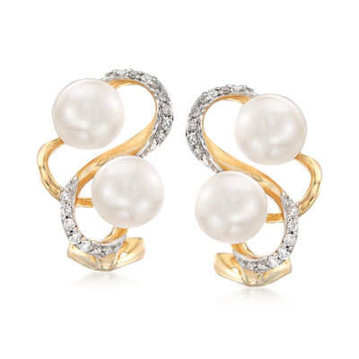 6-6.5mm Cultured Pearl and .13 ct. t.w. Diamond Earrings in 14kt Yellow Gold, , default