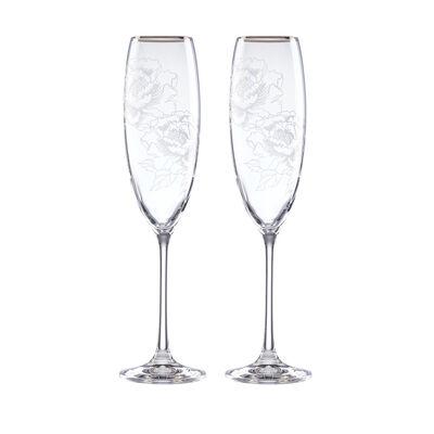 "Lenox ""Silver Peony"" 2-pc Glass Toasting Flute Set, , default"