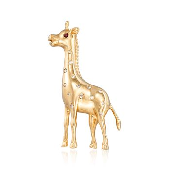 C. 1980 Vintage .10 ct. t.w. Diamond Giraffe Pin With Ruby Accent in 14kt Yellow Gold, , default