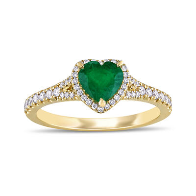 .60 Carat Emerald and .25 ct. t.w. Diamond Heart Ring in 14kt Yellow Gold