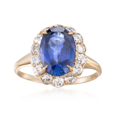 C. 1990 Vintage 3.91 Carat Sapphire and .80 ct. t.w. Diamond Ring in 14kt Yellow Gold, , default