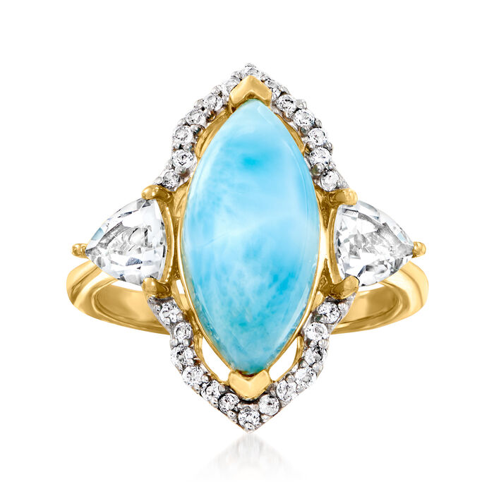 Larimar and 1.00 ct. t.w. White Topaz Ring in 18kt Gold Over Sterling