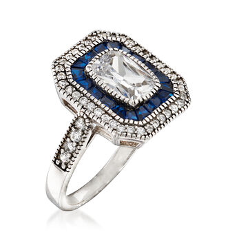 .80 ct. t.w. Simulated Blue Spinel and 2.21 ct. t.w. CZ Ring in Sterling Silver, , default