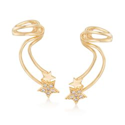 Italian .15 ct. t.w. CZ Celestial Ear Cuffs in 24kt Yellow Gold Over Sterling Silver, , default