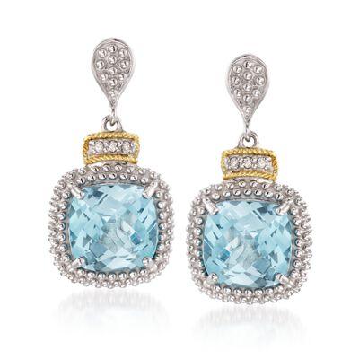 "Phillip Gavriel ""Popcorn"" 7.00 ct. t.w. Blue Topaz and .16 ct. t.w. Diamond Drop Earrings in Sterling Silver and 18kt Gold, , default"