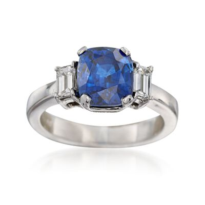 C. 1990 Vintage 3.44 Carat Sapphire and .50 ct. t.w. Diamond Ring in Platinum, , default