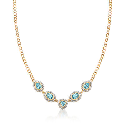 5.30 ct. t.w. Blue and White Zircon Necklace in 18kt Gold Over Sterling, , default