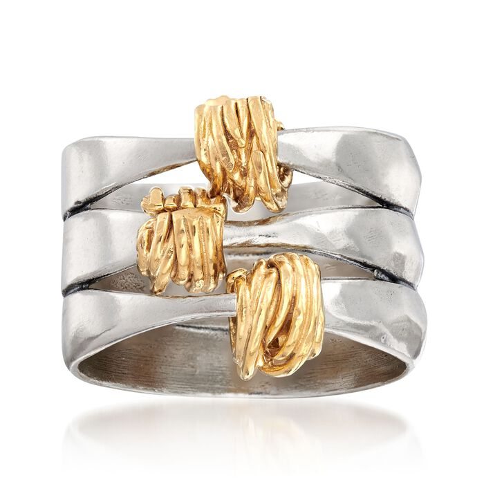 Two-Tone Sterling Silver Wrapped Station Ring, , default