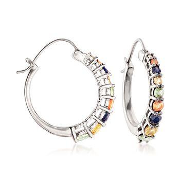 "2.37 ct. t.w. Multicolored Sapphire Hoop Earrings in Sterling Silver. 1"", , default"