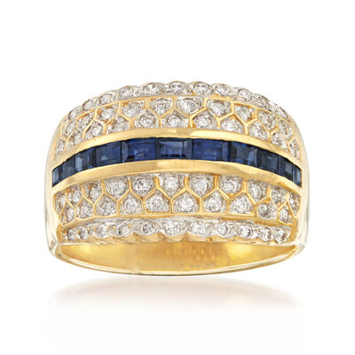 C. 1980 Vintage 1.10 ct. t.w. Sapphire and .65 ct. t.w. Diamond Ring in 14kt Yellow Gold