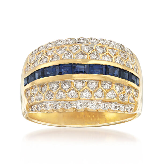 C. 1980 Vintage 1.10 ct. t.w. Sapphire and .65 ct. t.w. Diamond Ring in 14kt Yellow Gold. Size 10