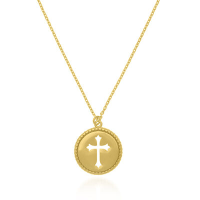14kt Yellow Gold Cut-Out Cross Medallion Necklace