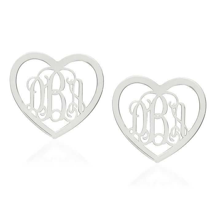 Sterling Silver Small Laser Polished Heart Monogram Post Earrings, , default