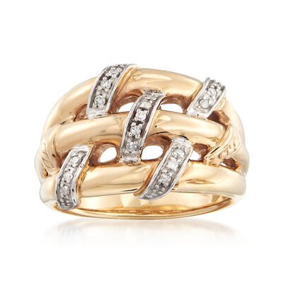 .10 ct. t.w. Diamond Basketweave Ring in 14kt Yellow Gold, , default