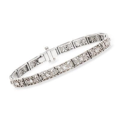 C. 1970 Vintage .10 ct. t.w. Diamond Filigree Bracelet in Platinum, , default